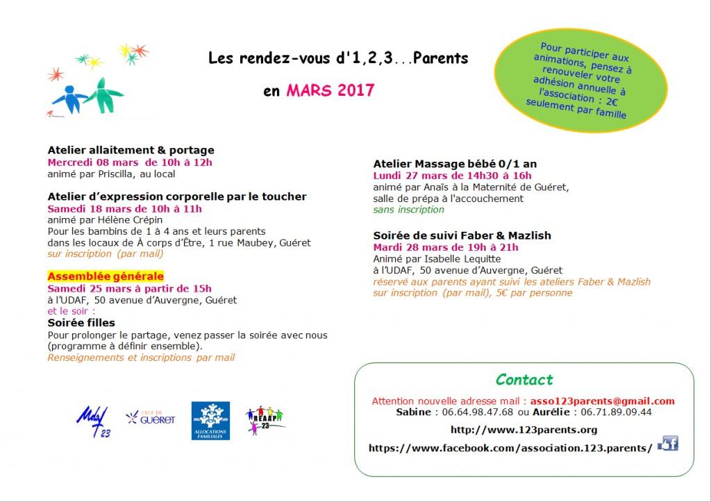 123 parents - programme mars 2017