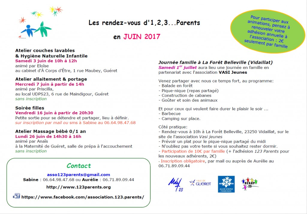 123 parents - programme juin 2017