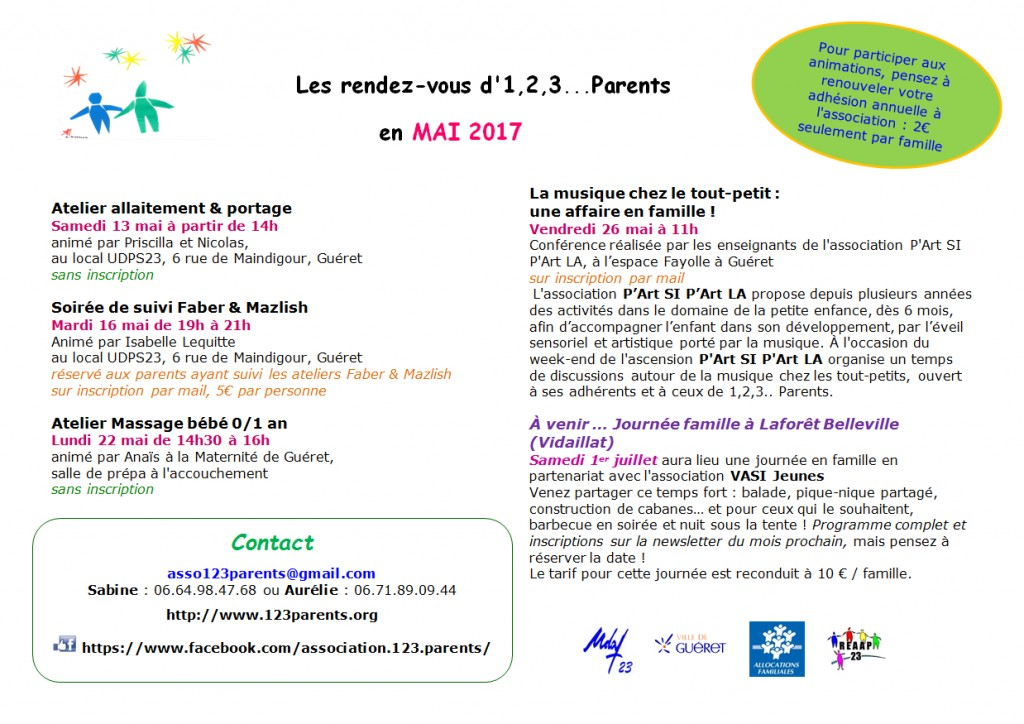 123 parents - programme mai 2017
