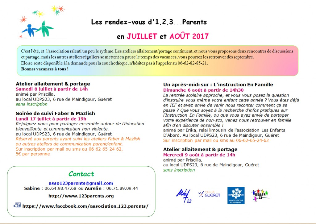 123 parents - programme été 2017